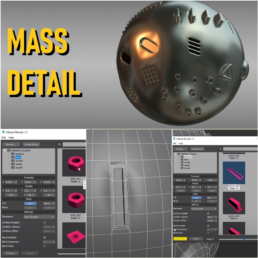 3ds Max - 3D modeling details with Kitbasher