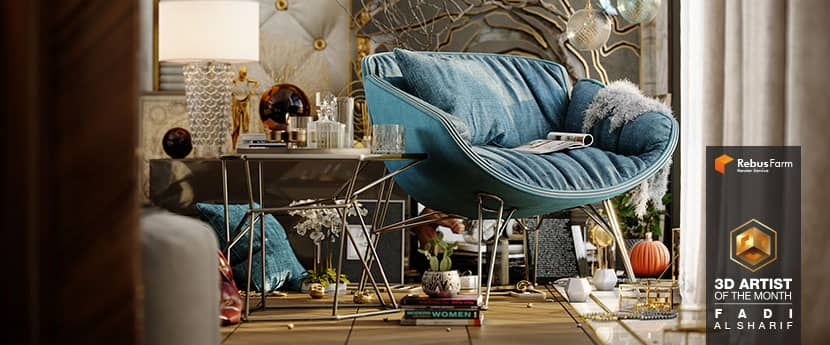 Luxury bedroom with comfortable blue chair and luxury goods