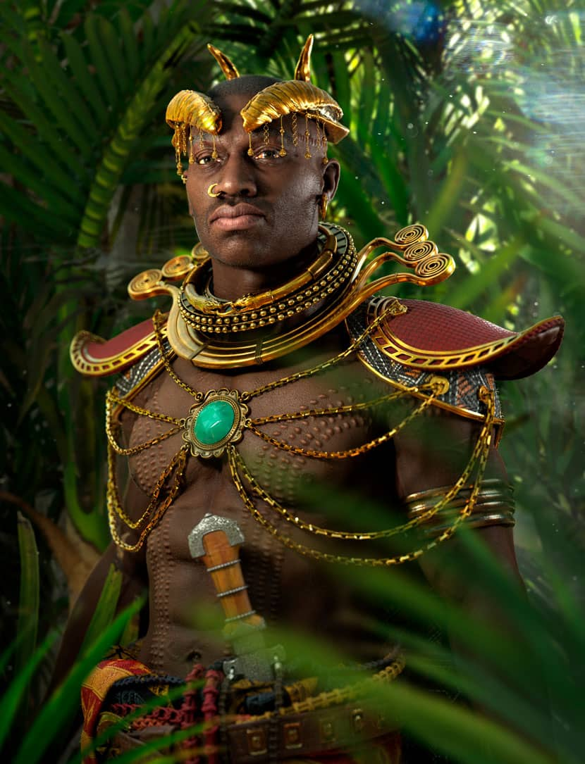 Olakunde - Rendering of proud jungle warrior